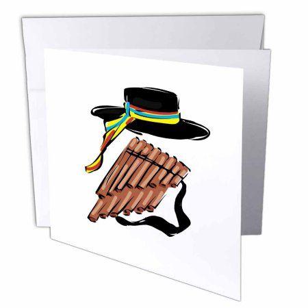 3drose Hat Black Pan Flute Ribbon Music Design Greeting Cards 6