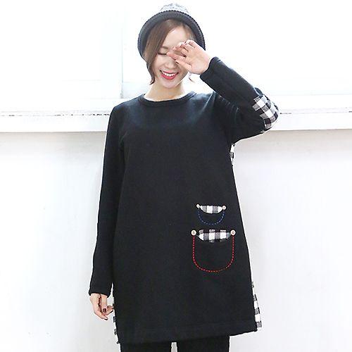 Check Accent T-Shirt Dress