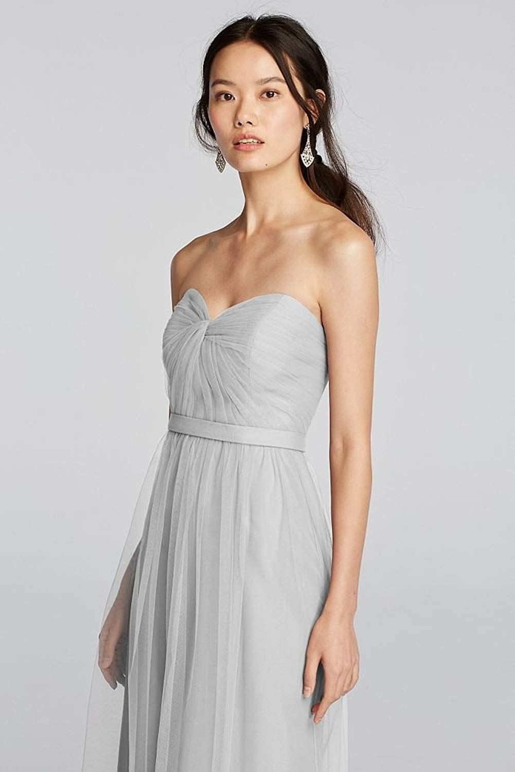 Davidus bridal strapless tulle long bridesmaid dress with removable