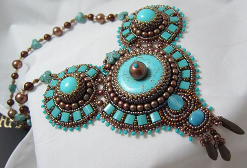 Turquoise cabochon, mother of pearls, Miyuki Tila beads, Japanese seed beads