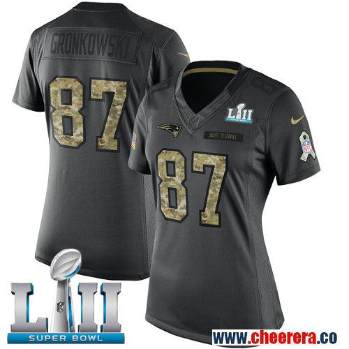Nike Patriots 87 Rob Gronkowski Anthracite Women 2018 Super Bowl LII Salute  to Service Limited Jersey