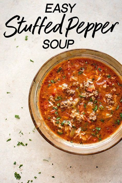 Easy Stuffed Pepper Soup Recipe Recipe Easy Soup Recipes Stuffed Peppers Easy Stuffed Peppers