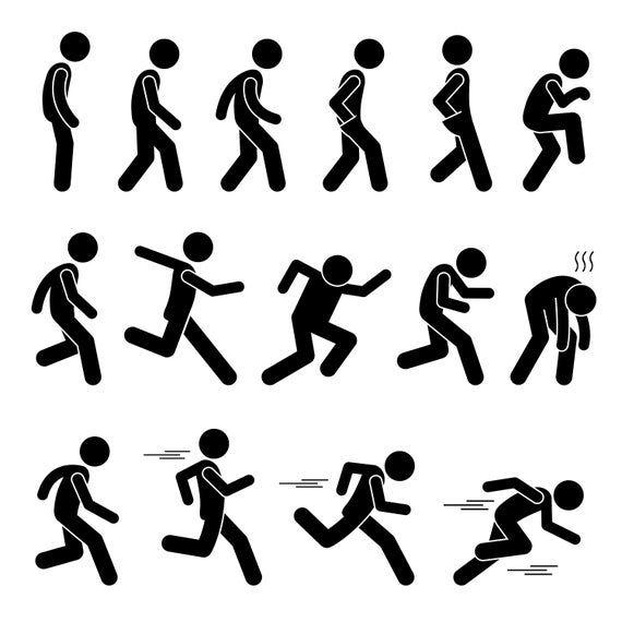 Stick Figure Human Action Poses Punch Kick Postures Refuse Etsy Stick Figures Pictogram Human Poses