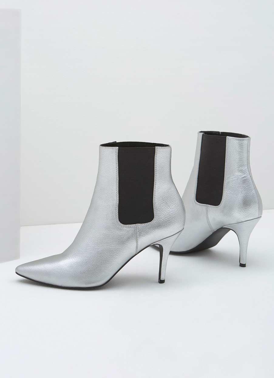 Zara Silver Kitten Heel Boot Mint Velvet With Images Kitten Heel Boots Kitten Heels Silver Ankle Boots