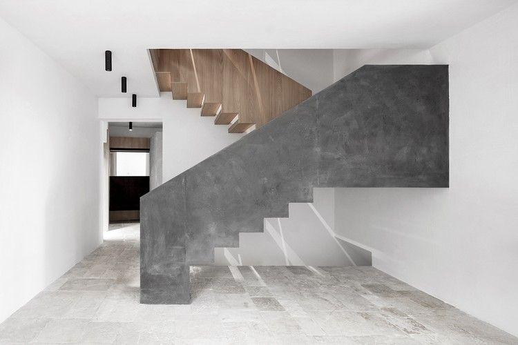 moderne Innentreppe aus Beton und Holz Architektur Pinterest