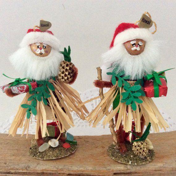 Hula Santa - Hawaiian Christmas - Hawaii St Nick - Santa Ornament