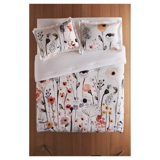 White Watercolor Floral Comforter Sham Set Threshold Floral