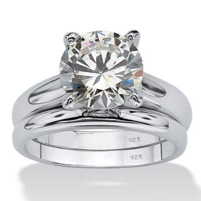 Palm Beach Jewelry 2 Piece Platinum Plated 3 Cttw Cubic Zirconia Size 10 Wedding Ring Set White