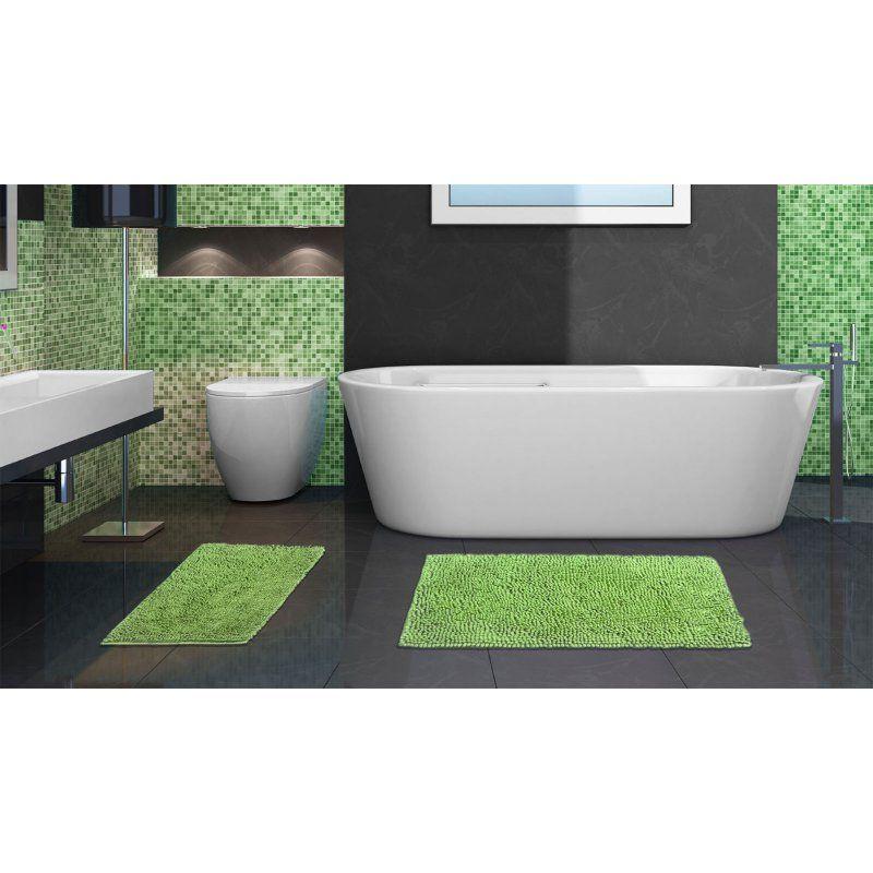 Popular Bath Chenille Bright Piece Rug Set Lime - Chenille bath rug for bathroom decorating ideas