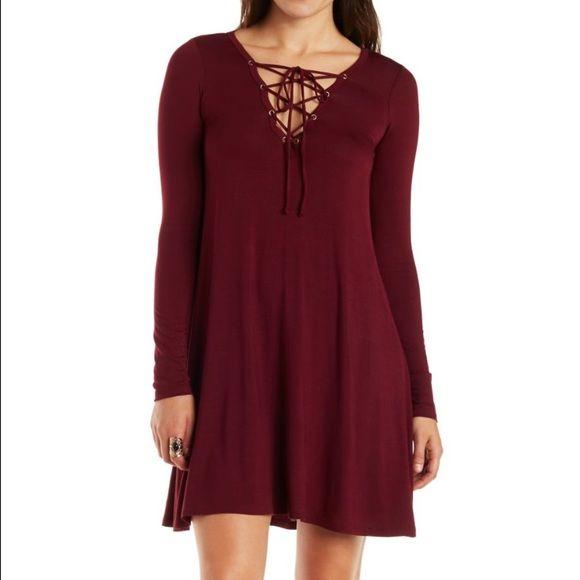 Maroon vneck tshirt dress Brand new! Size medium, super cute! Dresses Long Sleeve