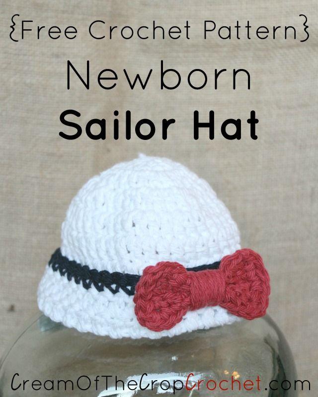 Crochet Newborn Sailor Hat Pattern