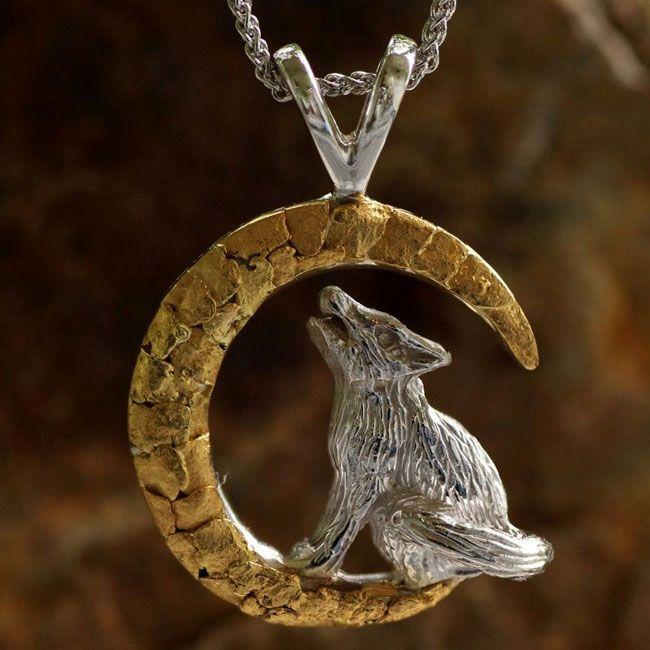 Alaskan Gold Nugget Howling Wolf PendantWild Alaska JewelryGold