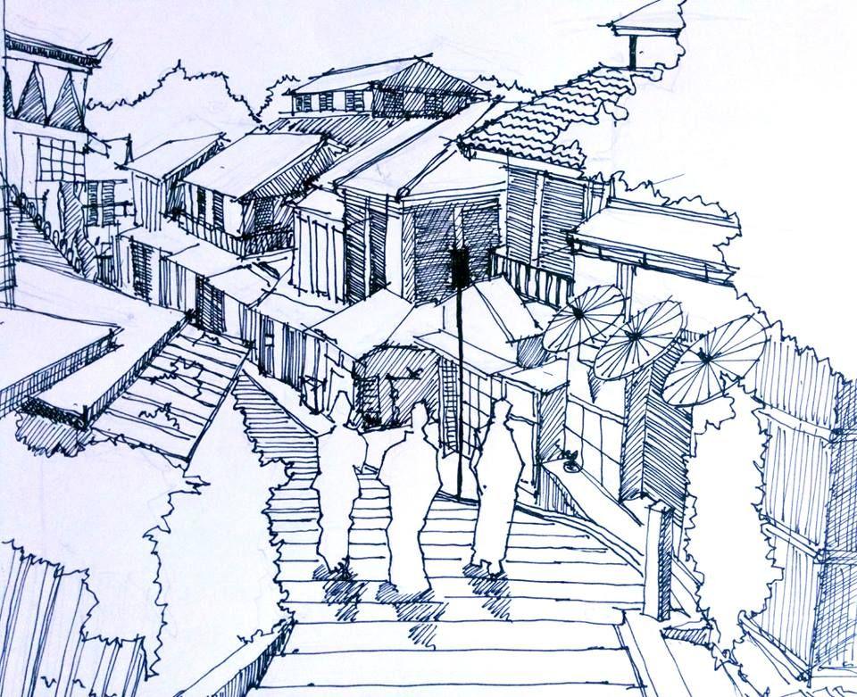 Sketch of Japanese village by Skander Saadi Croquis