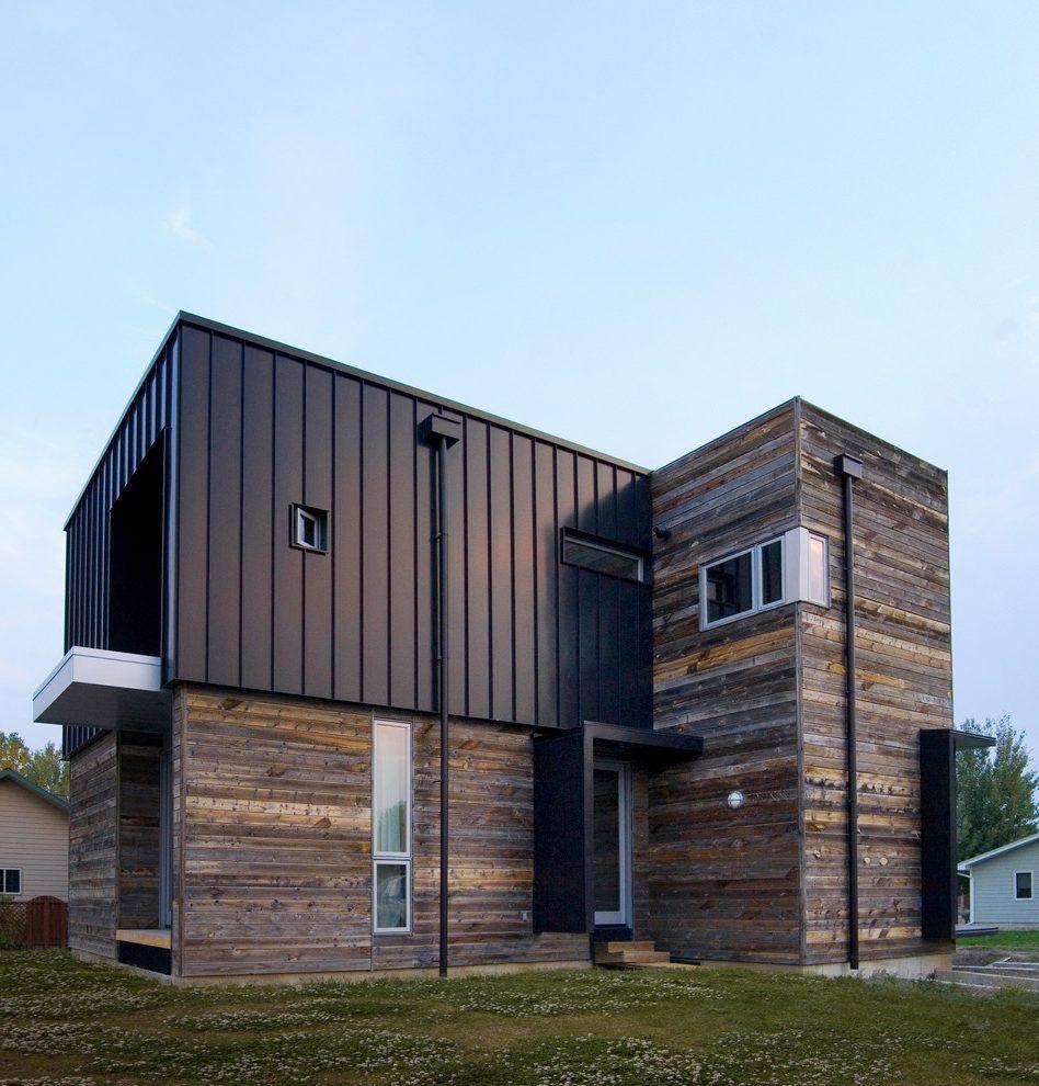 Modern Exterior Wood Siding: Mixed Siding Flat Roof Home Ideas Exterior Contemporary