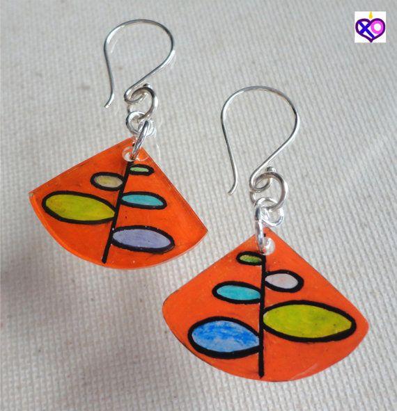Dangle Orange Fan EARRINGS Plastic Art by XOCC  $5
