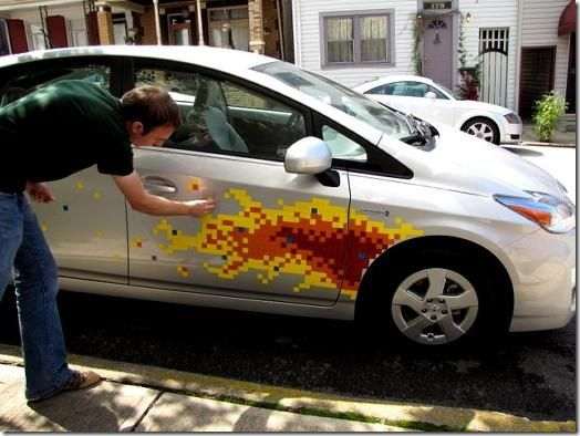 Cool Pixel Art Flame Job On A Toyota Prius - Magnetic car decals flames