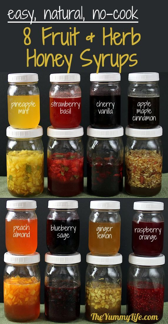 Naturally flavored fruit & herb honey syrups to stir into hot and cold tea, water, cocktails, yogurt, smoothies and more. Printable labels, too. www.theyummylife.com/Fruit_Herb_Honey_Syrups