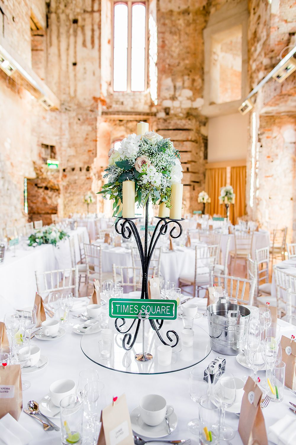 new york themed lulworth castle table center piece | band