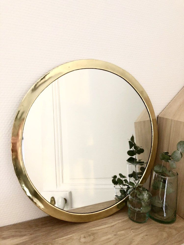 Mirror Gilded Copper Brass Round Large Model Mirror Brass Mirror Copper Brass