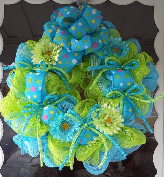 Photo of Items similar to Deco Mesh Wreath, Spring Deco Mesh Wreath, Mesh Wreath, Wreath on Etsy