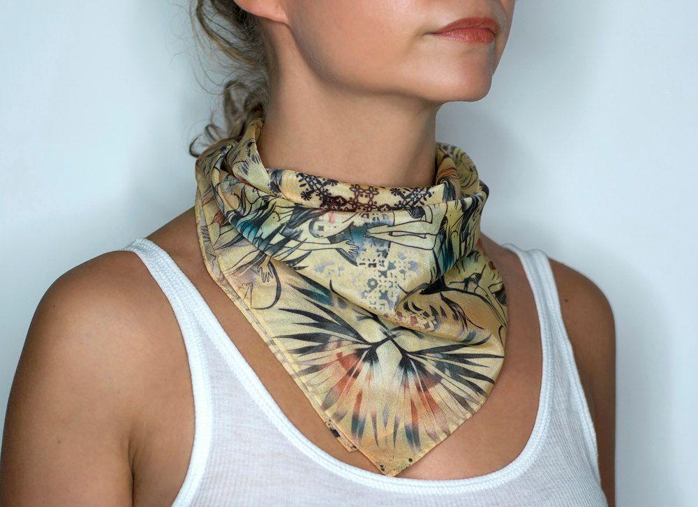 "Silk scarf ""Metamorphosis II Vanilla"" 48x48 cm. Foulard. Hair accessories. Bandana. Cowboy style. 100% natural silk. Made in Spain de CAROLINAPUIVECINO en Etsy"