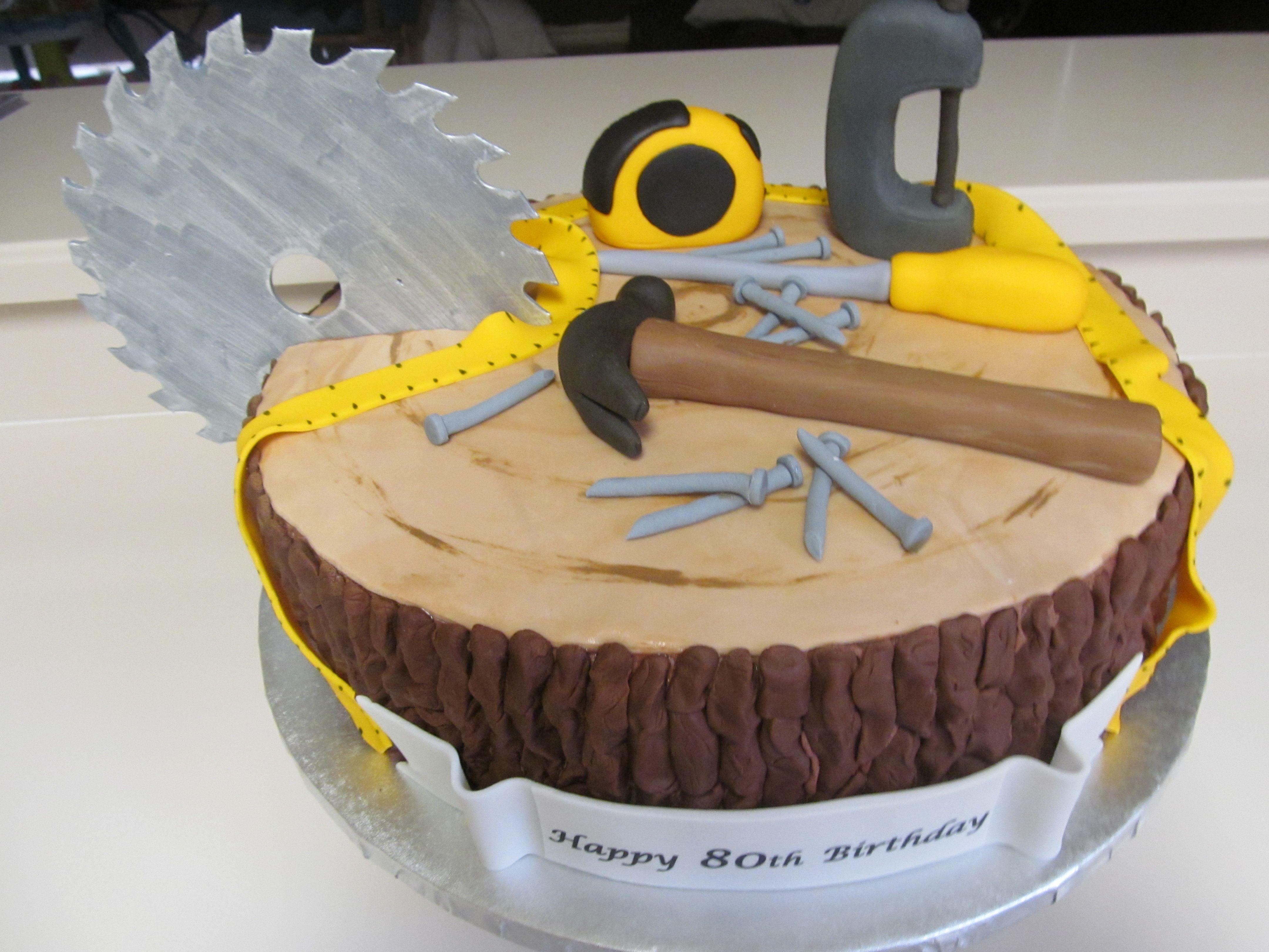 80th Birthday Cake - Wood Worker