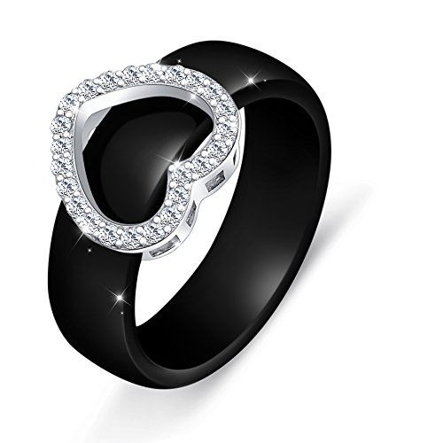 Ceramic S925 Sterling Silver Bridal Heart Ring For Women Wedding