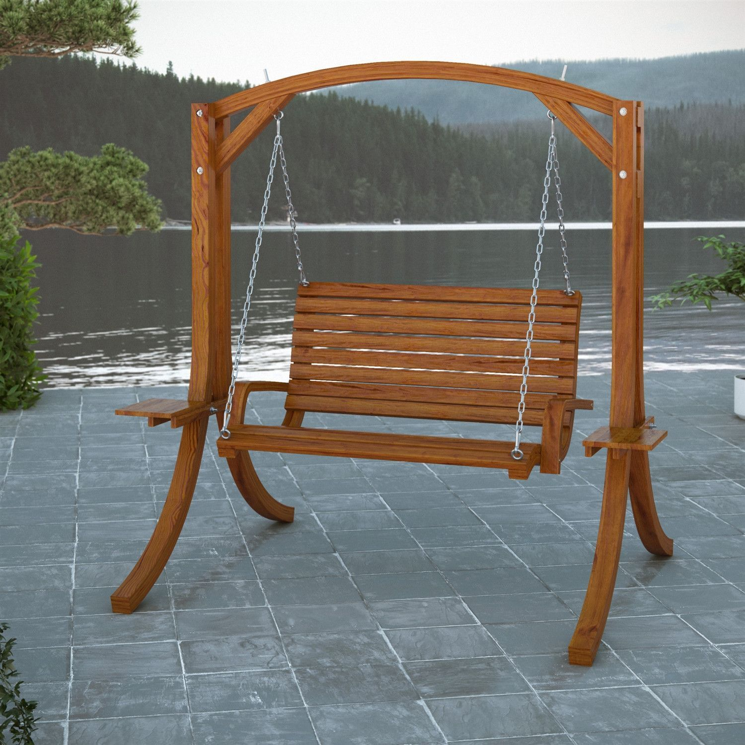 Charmant Cinnamon Brown Heavy Duty Rustic Solid Wood Porch Swing