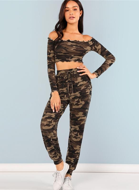 9db5f8dcaa1e Nessa Two Piece Set Camo Crop Top & Drawstring Pants Women's Co-Ord