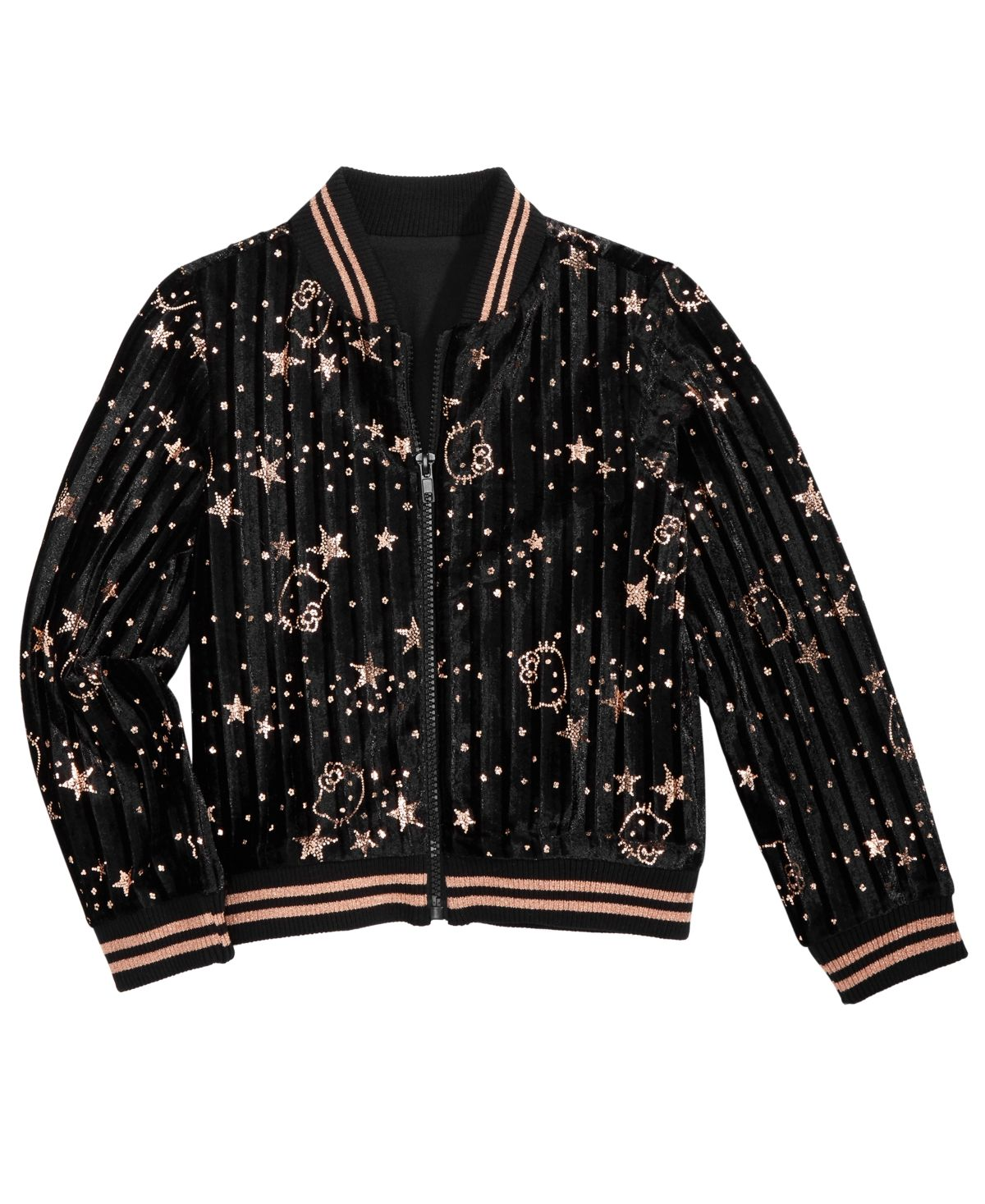 Hello Kitty Toddler Girls Printed Bomber Jacket Black In 2021 Printed Bomber Jacket Big Clothes Bomber Jacket [ 1467 x 1200 Pixel ]