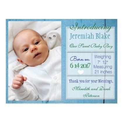 introducing new baby boy announcement postcard boy announcement