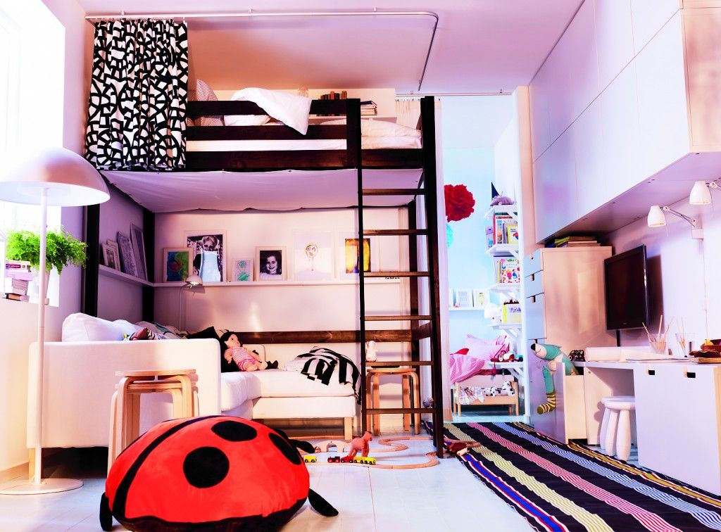 Bunk Bed With Room Under high wooden ikea loft bed set underneath with floating shelf and