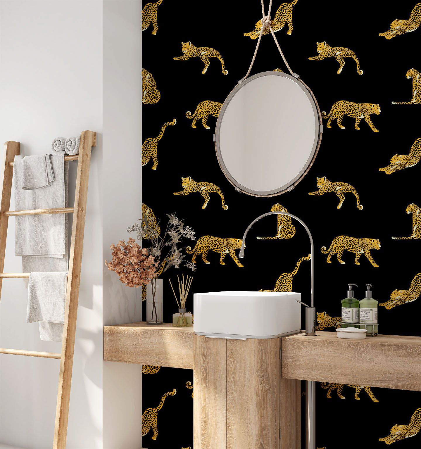 Tropical Removable Wallpaper Leopard Wallpaper Modern Etsy Leopard Wallpaper Modern Wallpaper Removable Wallpaper