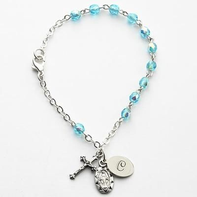 Personalized Birthstone Rosary Bracelet - March