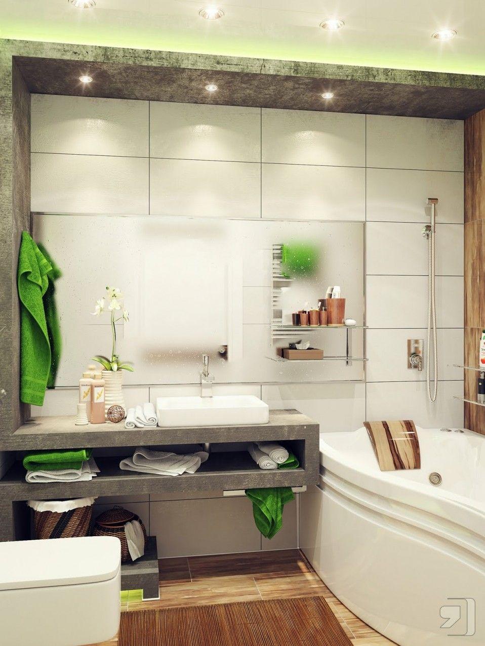 White Modern Bathroom Feats Exotic Cube Washbasin, wood look tile on ...