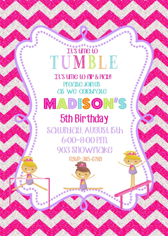 Gymnastics Birthday Party invitations printable or digital file by ...