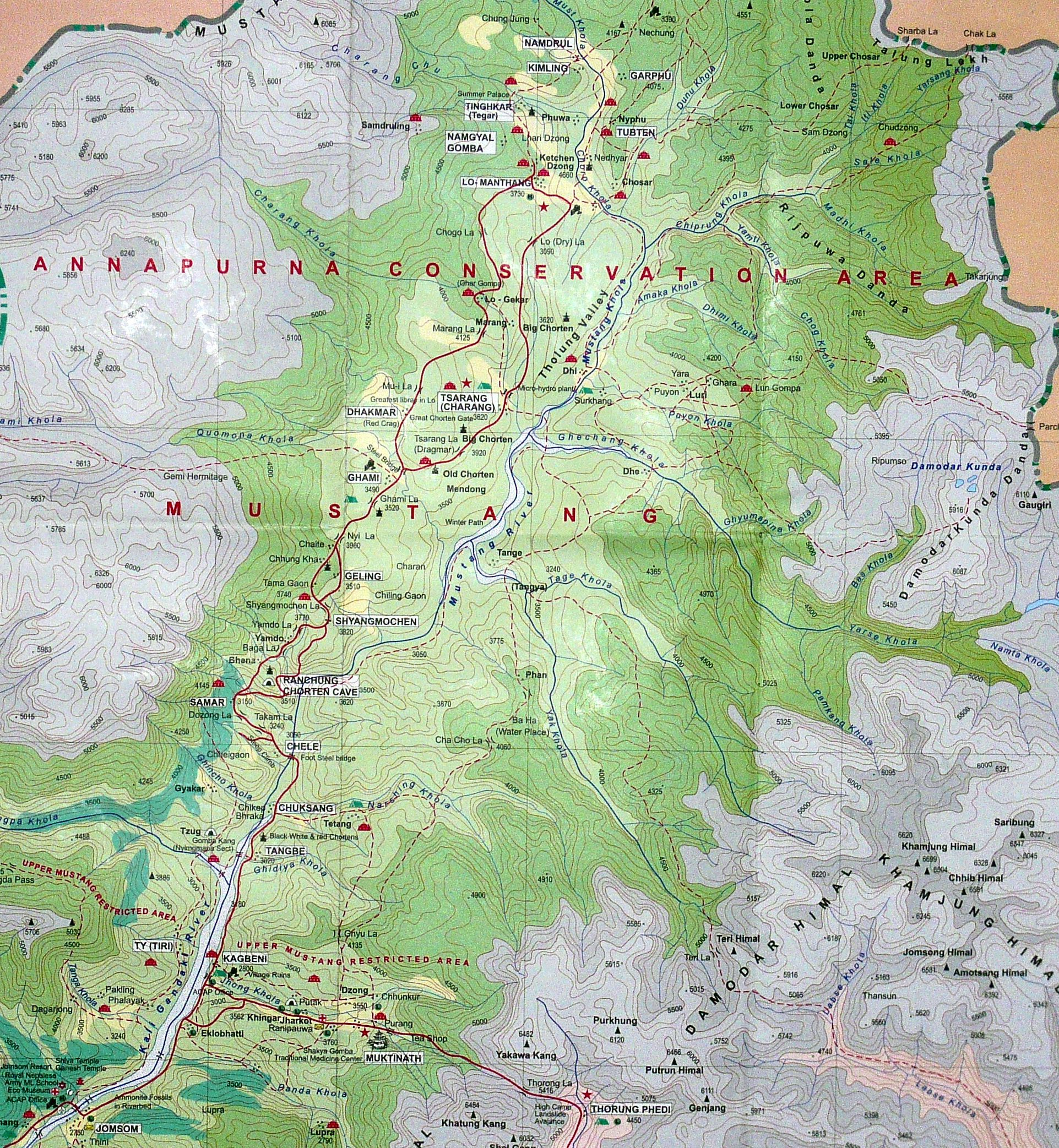 A detailed map of the Upper Mustang region  Projects to Try