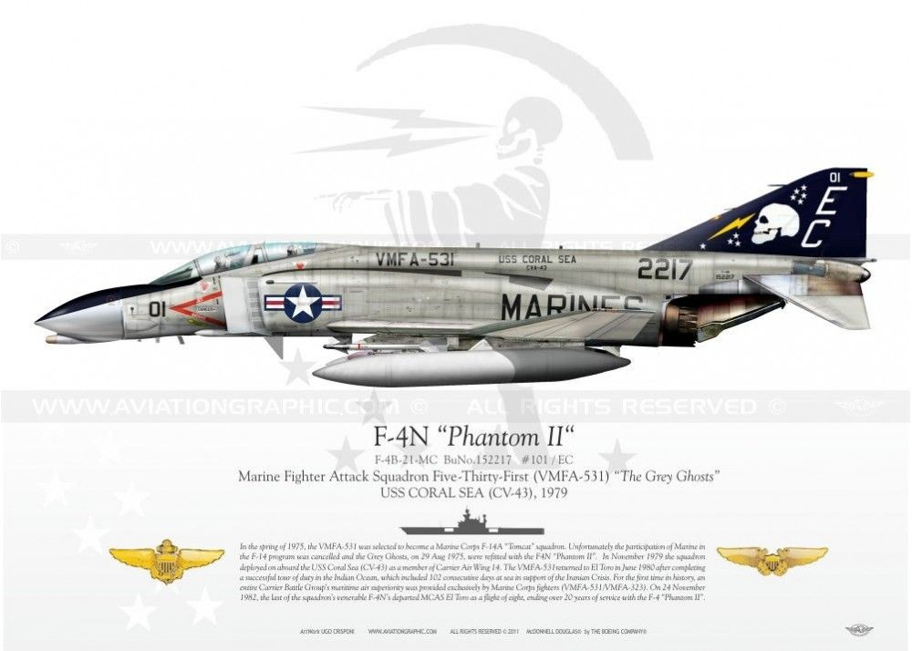 "F-4N ""Phantom II"" VMFA-531 ""The Grey Ghosts"" JP-735 - AviationGraphic.com"