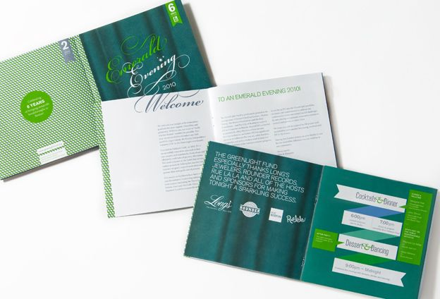 GreenLight Fund An Emerald Evening Brochure Paper Design - golf tournament brochure
