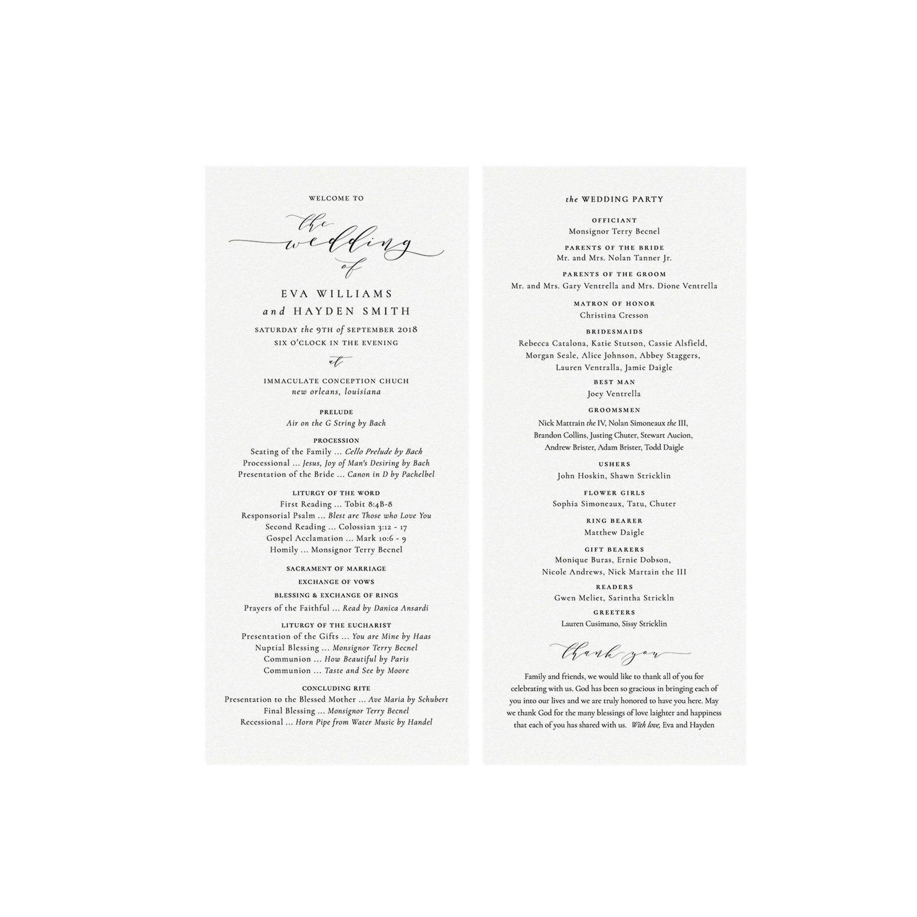 Melia 4x9 Catholic Wedding Program Template in Black
