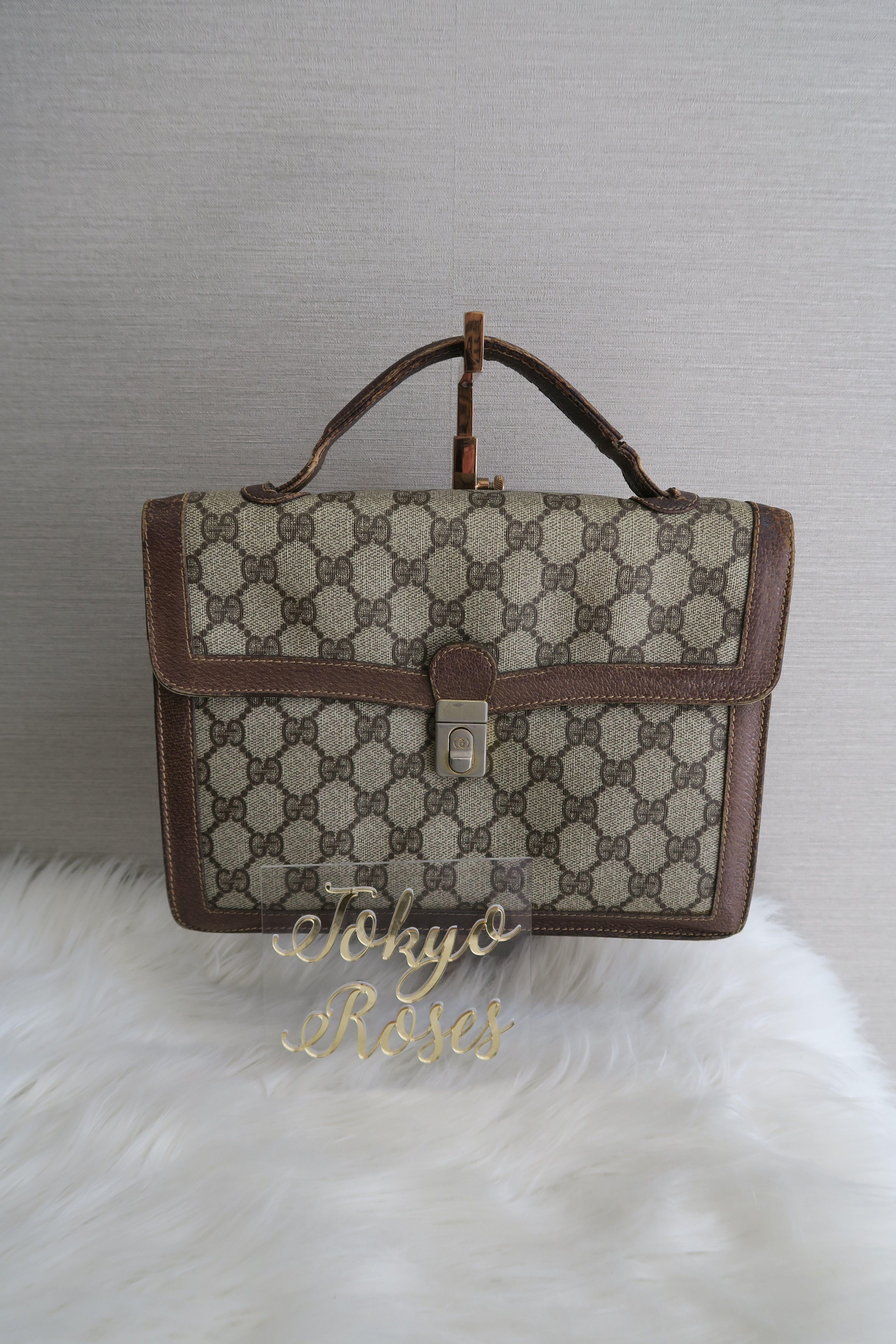 6da8a6f3a4b Vintage Gucci GG Monogram Canvas   Leather Business Bag Briefcase Handbag