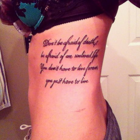 Quote tattoo ribs black and white | Before I Die | Pinterest ...
