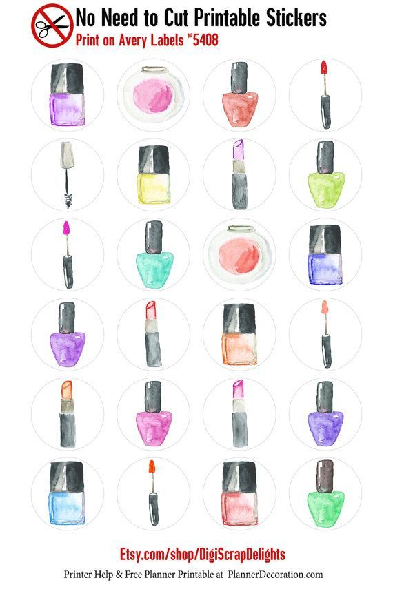 Watercolor Makeup No Cut Needed Printable Planner Stickers Nail