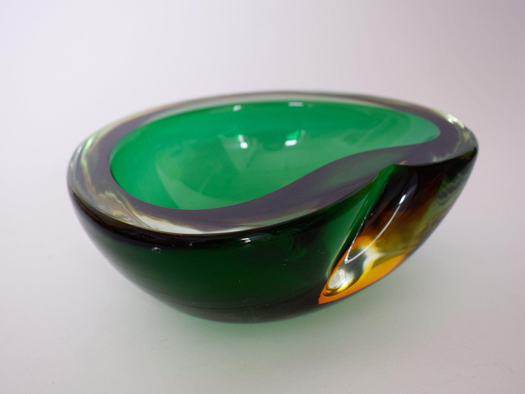 Heavy Italian Murano Glass Sommerso Bowl Venice Posacenere Rainbow