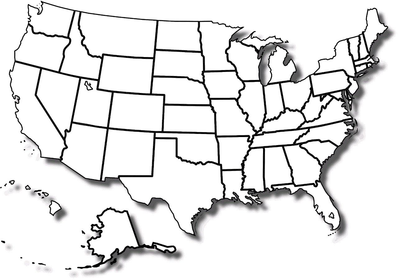 Details About Blank United States Map Glossy Poster