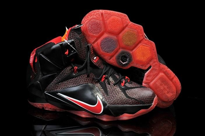 Nike Zoom Lebron XII 12 Womens Shoes Black Red Hot  b14ee1a604
