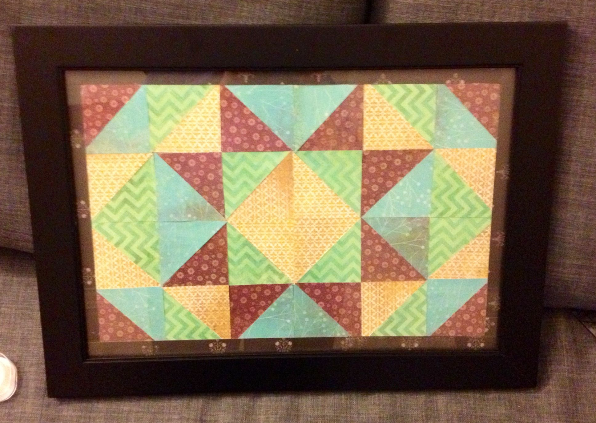 Super cheap and easy wall art - framed paper quilt. Simply cut out a ...