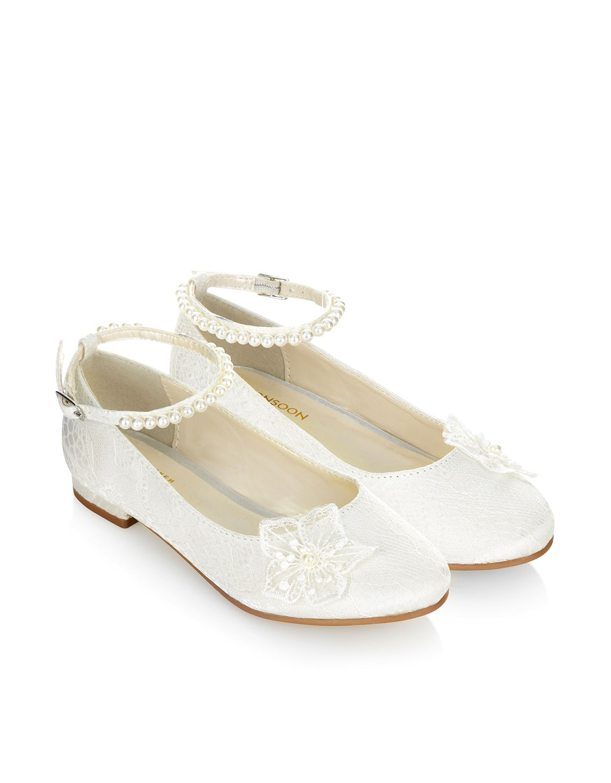 wedding flower girl shoes lace corsage pearl flat ivory monsoon flower 9504