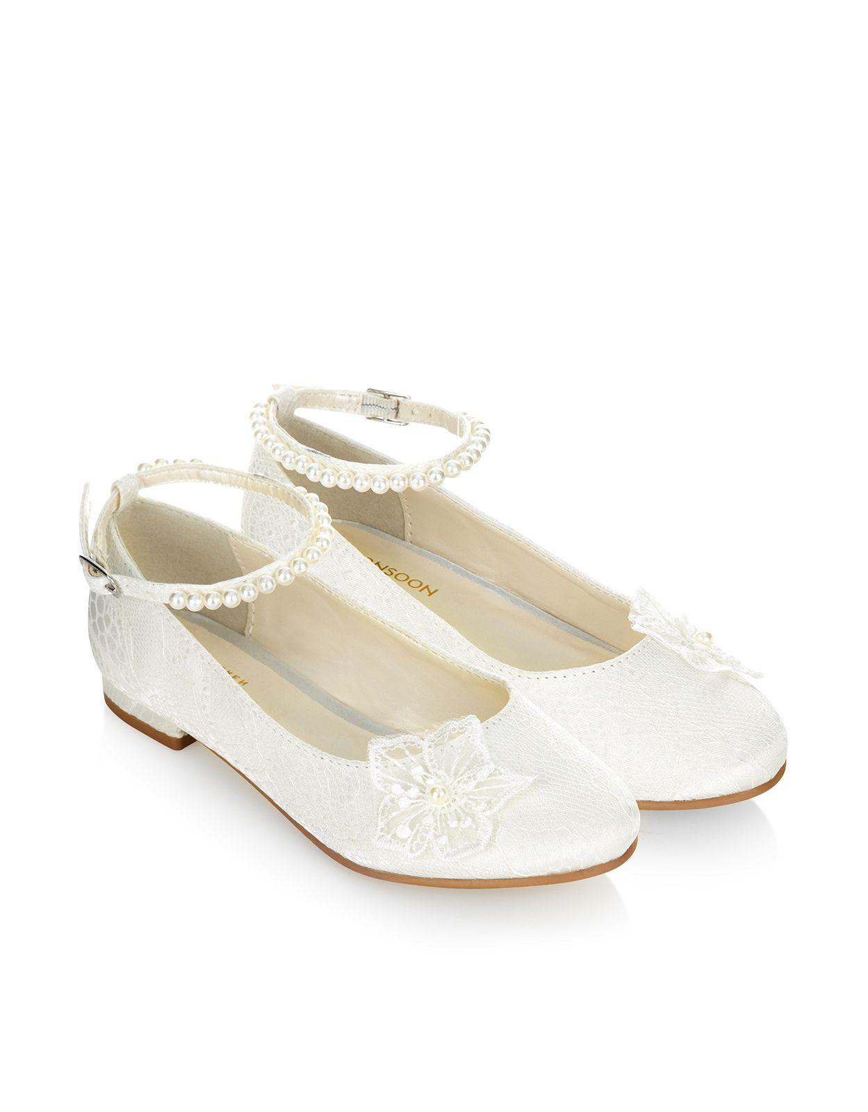 lace corsage pearl strap flat | ivory | monsoon | wedding