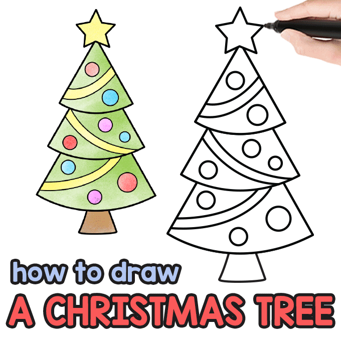 Are You Ready For Some Christmas Drawing We Sure Are We Ll Learn How To Draw A Christmas Christmas Tree Drawing Christmas Tree Drawing Easy Christmas Drawing